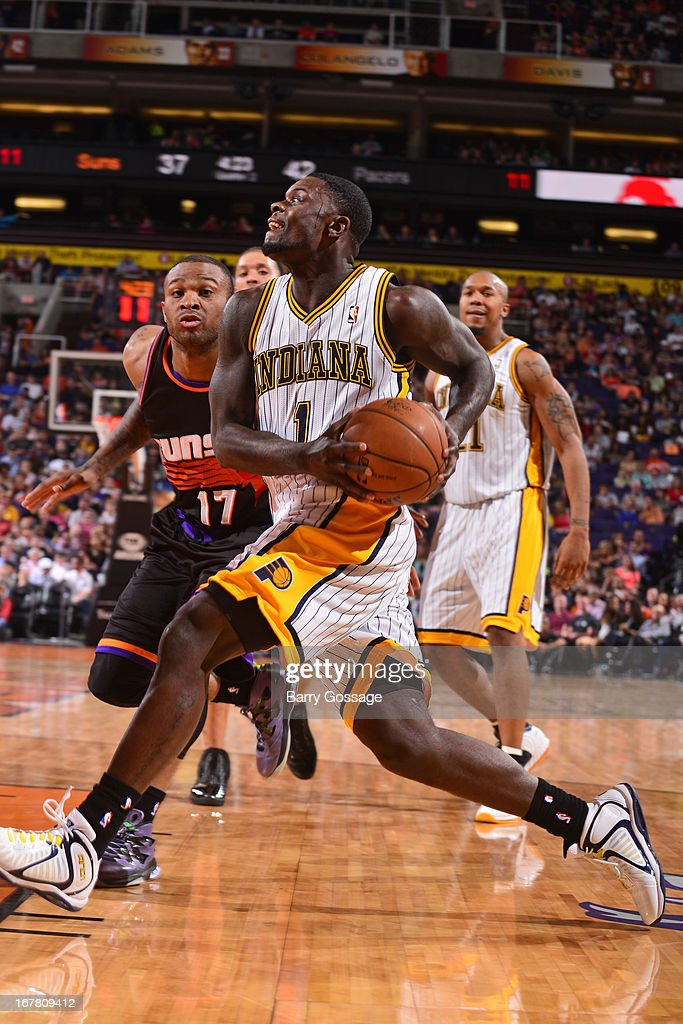 <a gi-track='captionPersonalityLinkClicked' href=/galleries/search?phrase=Lance+Stephenson&family=editorial&specificpeople=5298304 ng-click='$event.stopPropagation()'>Lance Stephenson</a> #1 of the Indiana Pacers drives to the basket against the Phoenix Suns on March 30, 2013 at U.S. Airways Center in Phoenix, Arizona.