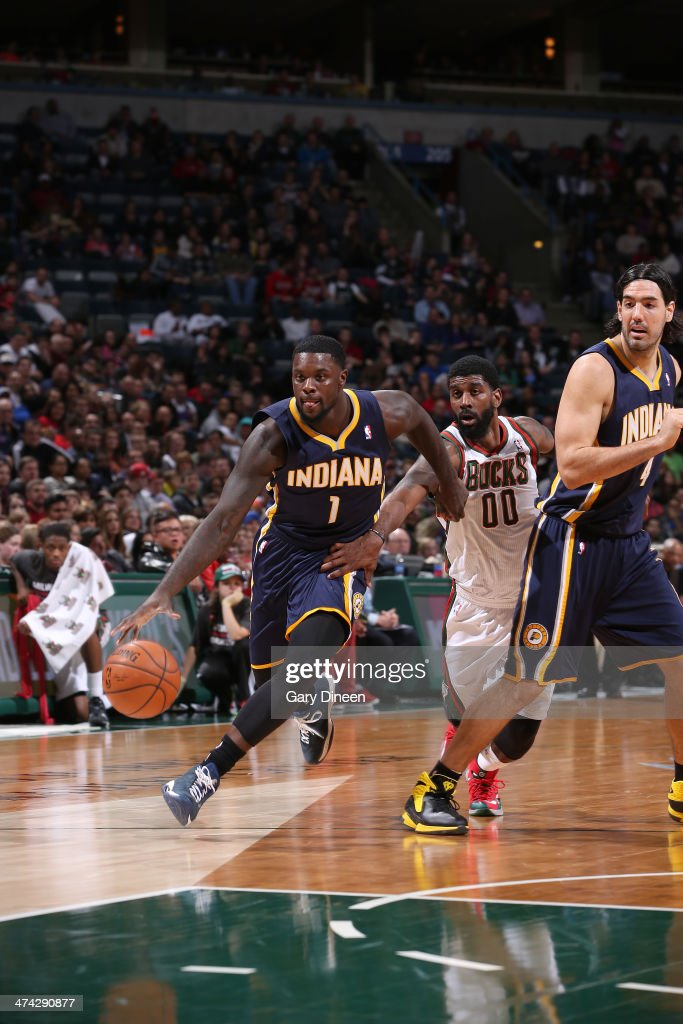 Lance Stephenson #1 of the Indiana Pacers drives to the basket against the Milwaukee Bucks on February 22, 2014 at the BMO Harris Bradley Center in Milwaukee, Wisconsin.