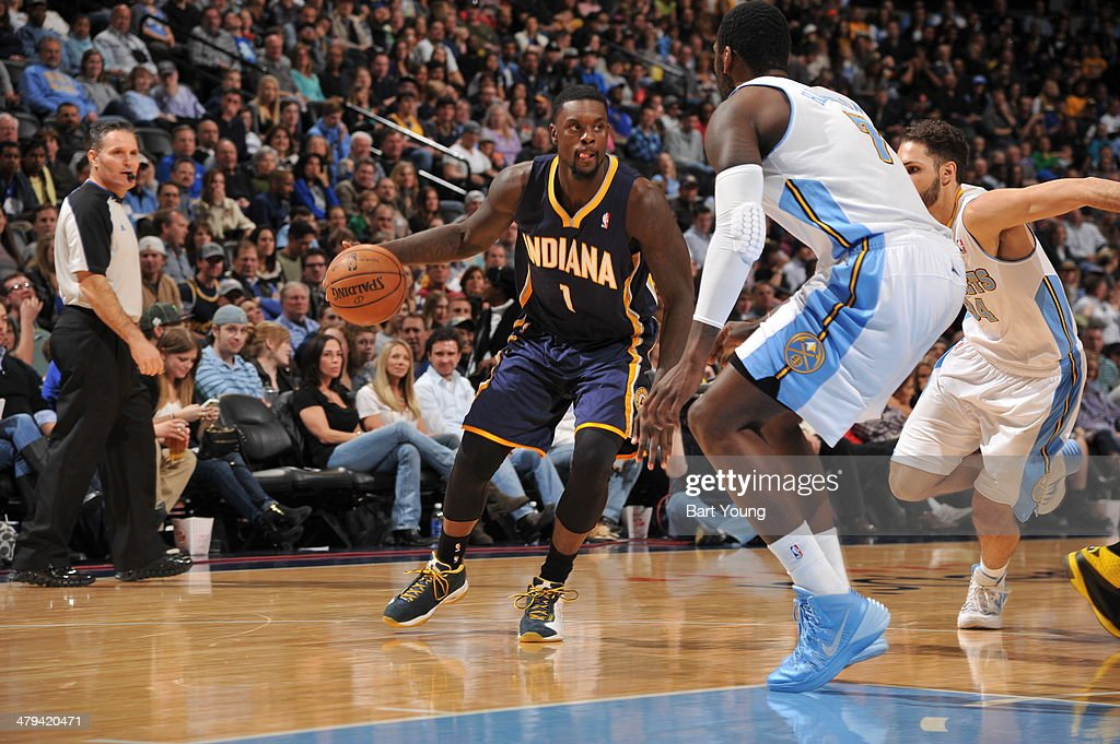 <a gi-track='captionPersonalityLinkClicked' href=/galleries/search?phrase=Lance+Stephenson&family=editorial&specificpeople=5298304 ng-click='$event.stopPropagation()'>Lance Stephenson</a> #1 of the Indiana Pacers drives to the basket against the Denver Nuggets on January 25, 2014 at the Pepsi Center in Denver, Colorado.