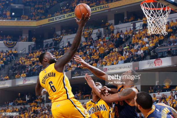 Lance Stephenson of the Indiana Pacers drives to the basket against Channing Frye of the Cleveland Cavaliers in the second quarter of Game Three of...