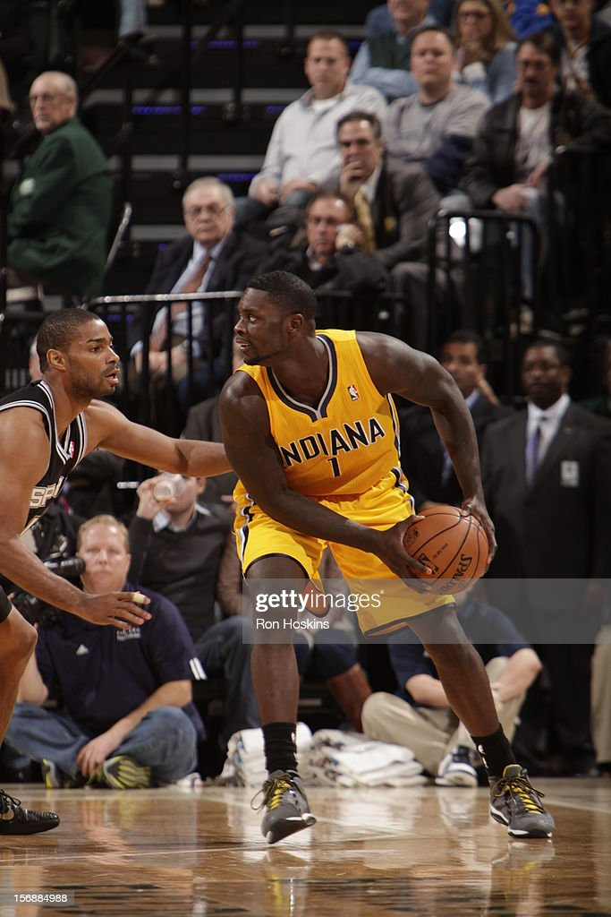 Lance Stephenson #1 of the Indiana Pacers drives to the basket vs the San Antonio Spurs on November 23, 2012 at Bankers Life Fieldhouse in Indianapolis, Indiana.