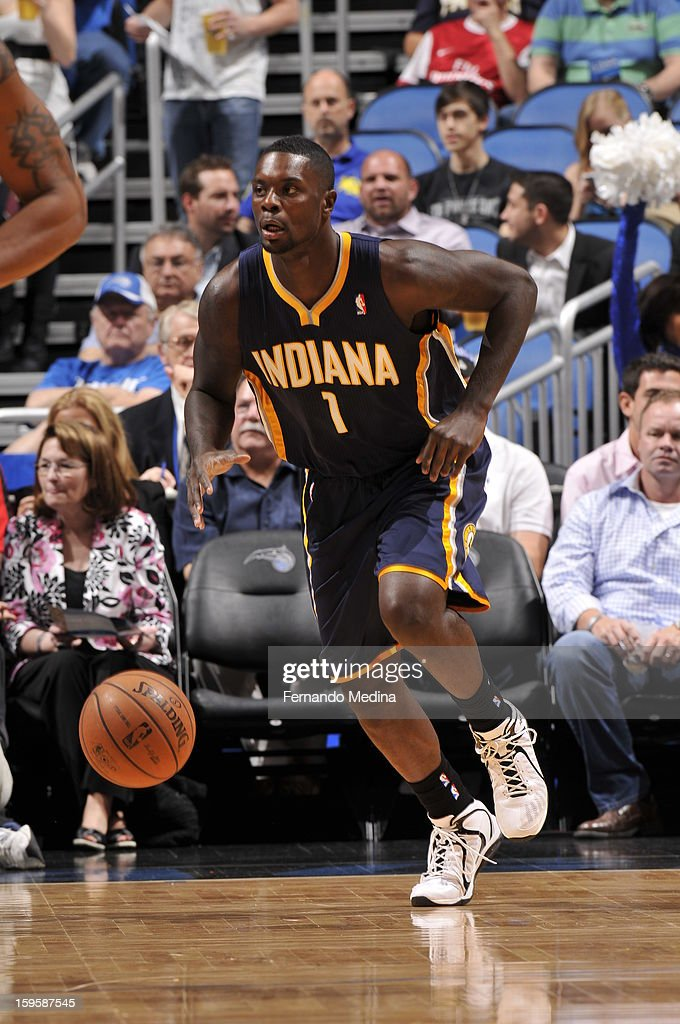 Lance Stephenson #1 of the Indiana Pacers drives up court against the Orlando Magic during the game on January 16, 2013 at Amway Center in Orlando, Florida.
