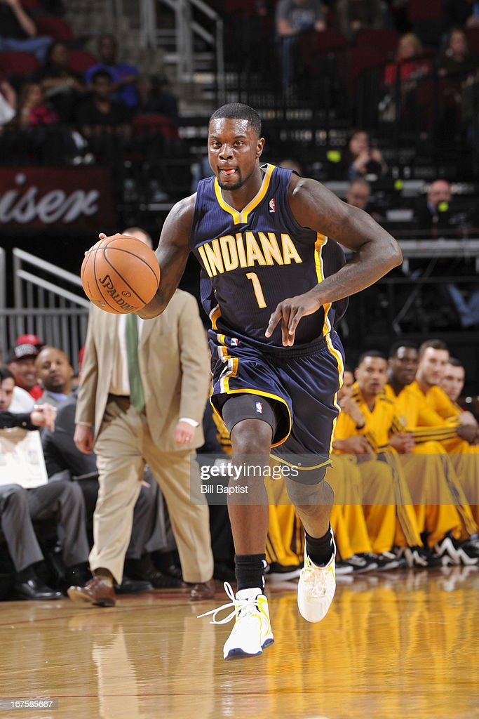 <a gi-track='captionPersonalityLinkClicked' href=/galleries/search?phrase=Lance+Stephenson&family=editorial&specificpeople=5298304 ng-click='$event.stopPropagation()'>Lance Stephenson</a> #1 of the Indiana Pacers drives up-court against the Houston Rockets on March 27, 2013 at the Toyota Center in Houston, Texas.