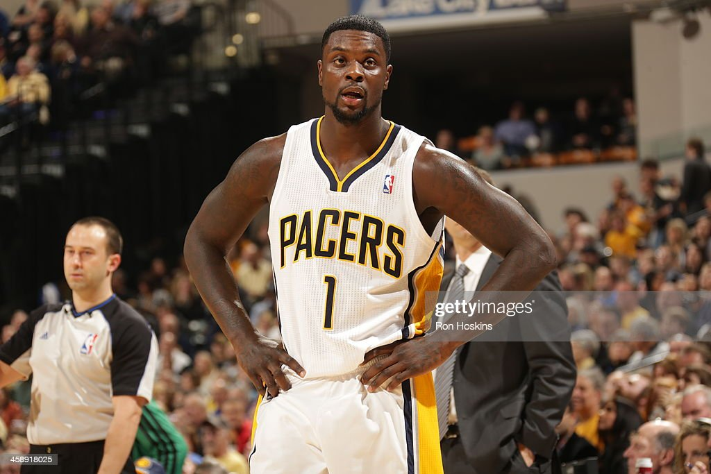Lance Stephenson #1 of the Indiana Pacers during the game against the Boston Celtics at Bankers Life Fieldhouse on December 22, 2013 in Indianapolis, Indiana.