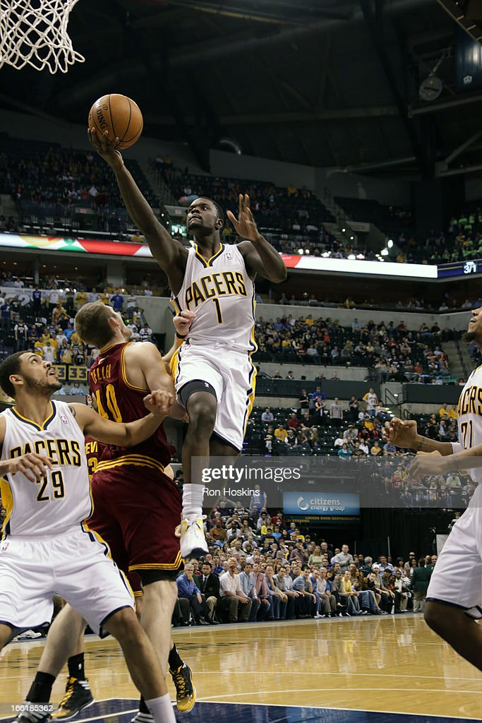 <a gi-track='captionPersonalityLinkClicked' href=/galleries/search?phrase=Lance+Stephenson&family=editorial&specificpeople=5298304 ng-click='$event.stopPropagation()'>Lance Stephenson</a> #1 of the Indiana Pacers finger rolls the ball to the hoop against the Cleveland Cavaliers on April 8, 2013 at Bankers Life Fieldhouse in Indianapolis, Indiana.