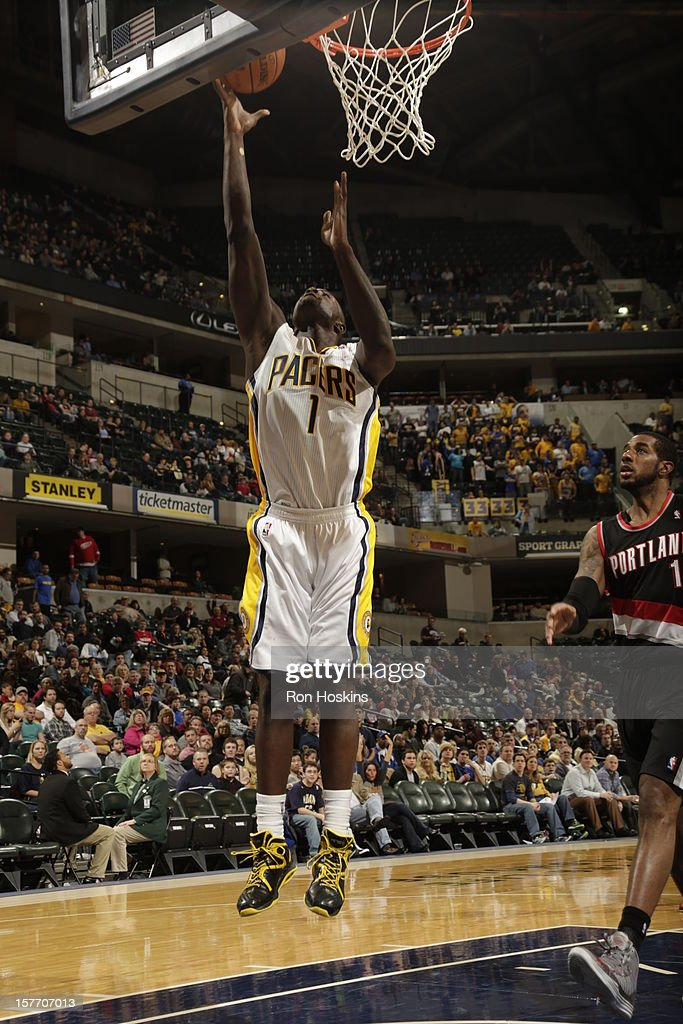 <a gi-track='captionPersonalityLinkClicked' href=/galleries/search?phrase=Lance+Stephenson&family=editorial&specificpeople=5298304 ng-click='$event.stopPropagation()'>Lance Stephenson</a> #1 of the Indiana Pacers goes to the basket against the Portland Trail Blazers on December 5, 2012 at Bankers Life Fieldhouse in Indianapolis, Indiana.