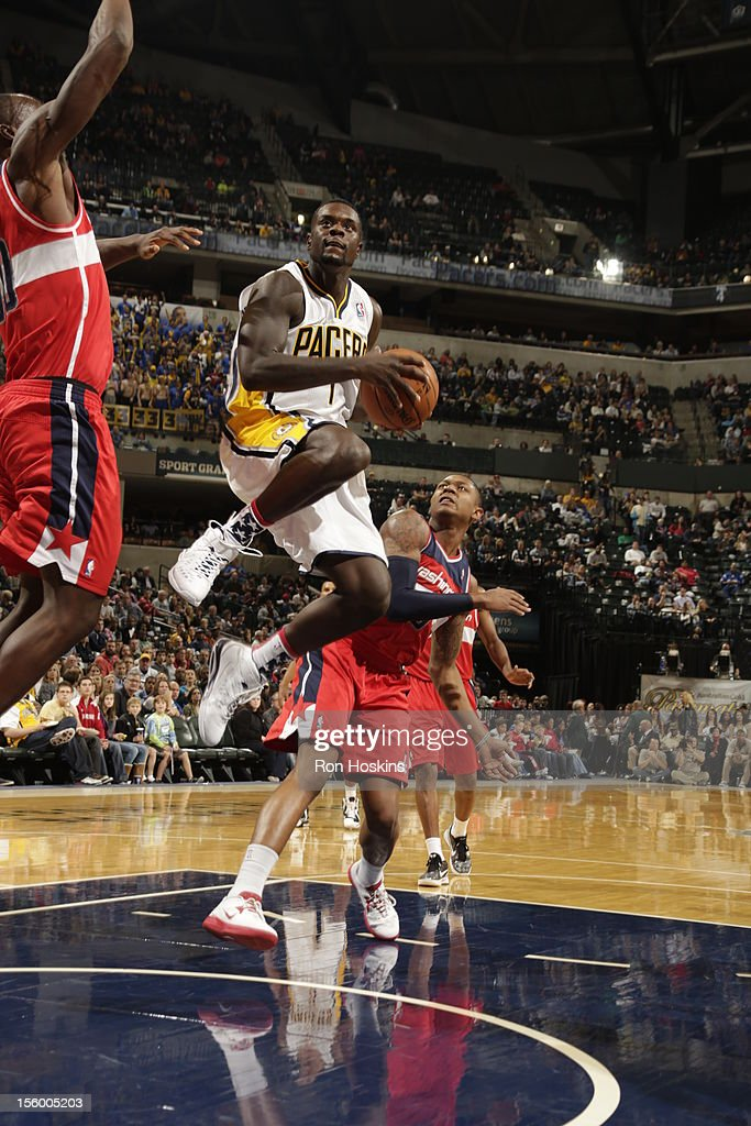 <a gi-track='captionPersonalityLinkClicked' href=/galleries/search?phrase=Lance+Stephenson&family=editorial&specificpeople=5298304 ng-click='$event.stopPropagation()'>Lance Stephenson</a> #1 of the Indiana Pacers goes to the basket during the game between the Indiana Pacers and the Washington Wizards on November 10, 2012 at Bankers Life Fieldhouse in Indianapolis, Indiana.