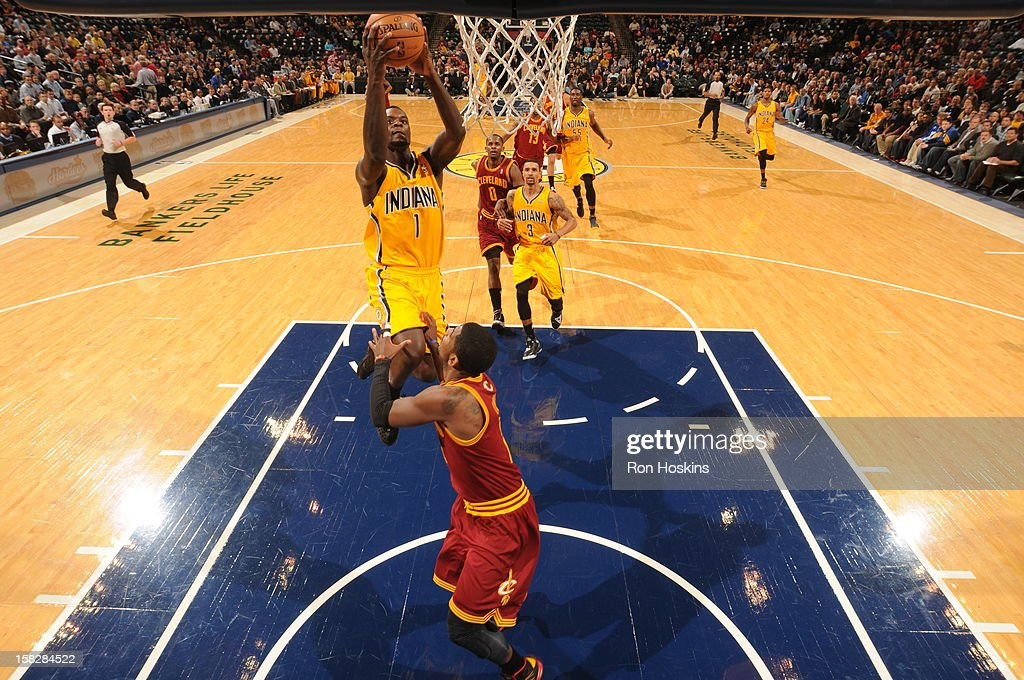 <a gi-track='captionPersonalityLinkClicked' href=/galleries/search?phrase=Lance+Stephenson&family=editorial&specificpeople=5298304 ng-click='$event.stopPropagation()'>Lance Stephenson</a> #1 of the Indiana Pacers goes to the basket during the game between the Indiana Pacers and the Cleveland Cavaliers on December 12, 2012 at Bankers Life Fieldhouse in Indianapolis, Indiana.