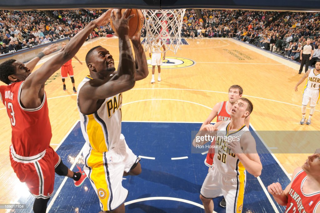 <a gi-track='captionPersonalityLinkClicked' href=/galleries/search?phrase=Lance+Stephenson&family=editorial&specificpeople=5298304 ng-click='$event.stopPropagation()'>Lance Stephenson</a> #1 of the Indiana Pacers goes to the basket during the game between the Milwaukee Bucks and the Indiana Pacers on January 5, 2013 at Bankers Life Fieldhouse in Indianapolis, Indiana.