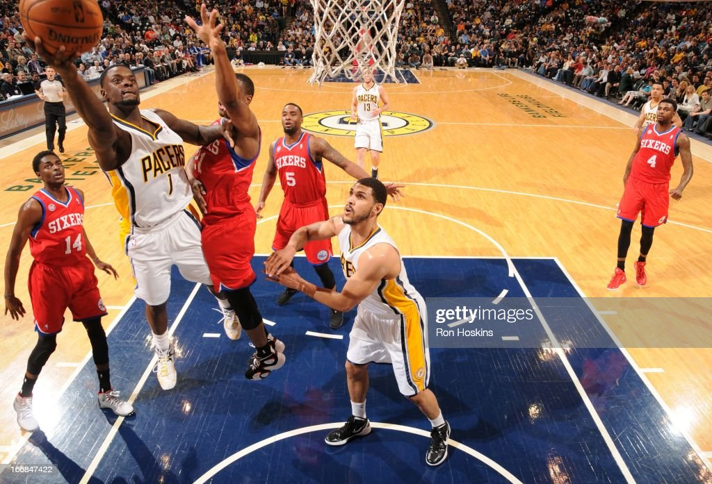 Lance Stephenson #1 of the Indiana Pacers goes to the basket during the game between the Indiana Pacers and the Philadelphia 76ers on April 17, 2013 at Bankers Life Fieldhouse in Indianapolis, Indiana.
