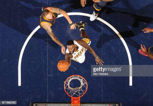 Lance Stephenson of the Indiana Pacers goes up for a lay up against the Cleveland Cavaliers during Game Four of the Eastern Conference Quarterfinals...