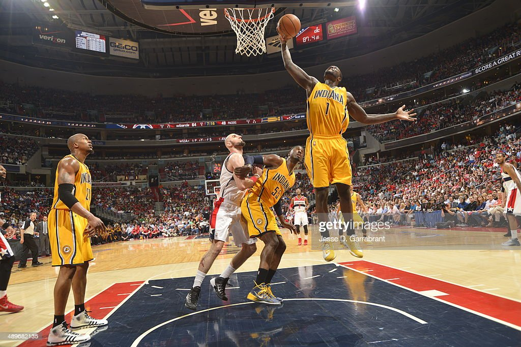 Lance Stephenson #1 of the Indiana Pacers goes up for the ball against the Washington Wizards during Game Four of the Western Conference Semifinals on May 11, 2014 at the Verizon Center, in Washington DC.