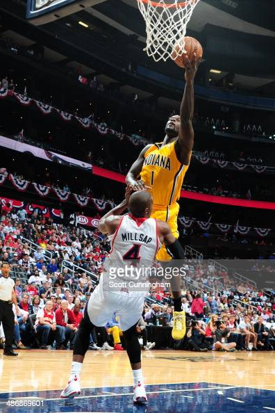 Lance Stephenson of the Indiana Pacers goes up for the layup against the Atlanta Hawks during Game Four of the Eastern Conference Quarterfinals on...
