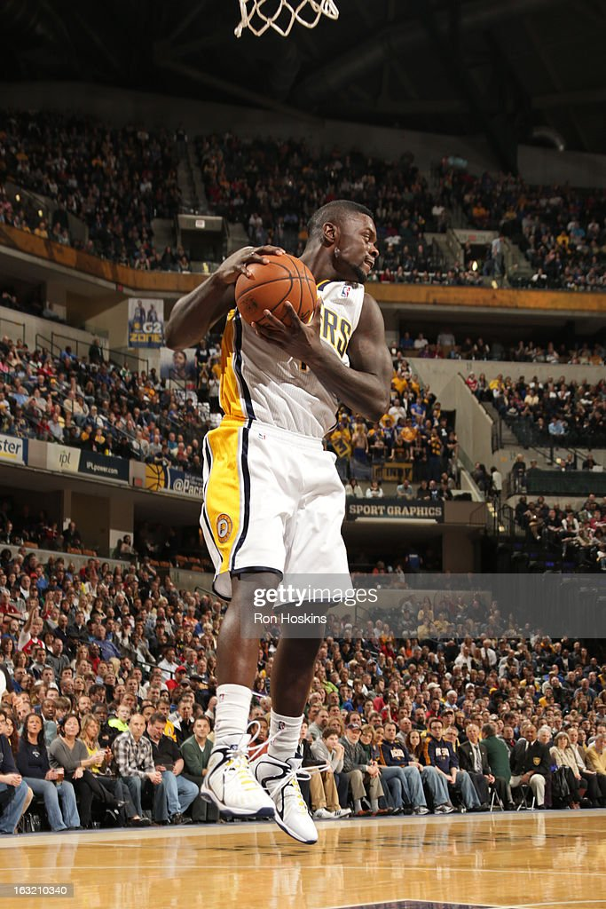 Lance Stephenson #1 of the Indiana Pacers grabs a rebound against the Los Angeles Clippers on February 28, 2013 at Bankers Life Fieldhouse in Indianapolis, Indiana.