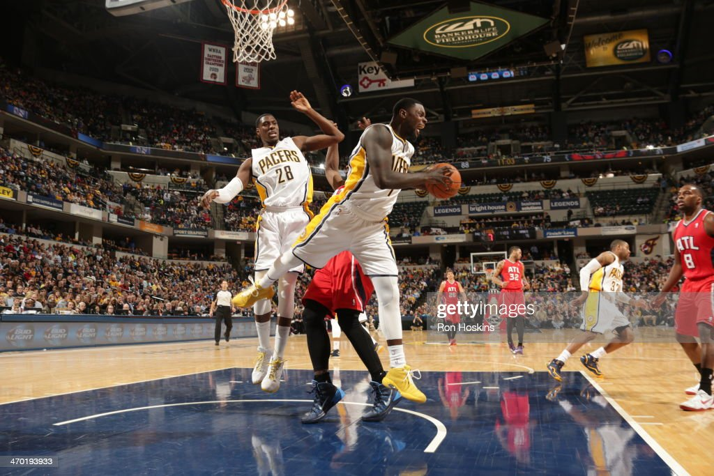<a gi-track='captionPersonalityLinkClicked' href=/galleries/search?phrase=Lance+Stephenson&family=editorial&specificpeople=5298304 ng-click='$event.stopPropagation()'>Lance Stephenson</a> #1 of the Indiana Pacers grabs a rebound against the Atlanta Hawks at Bankers Life Fieldhouse on February 18, 2014 in Indianapolis, Indiana.