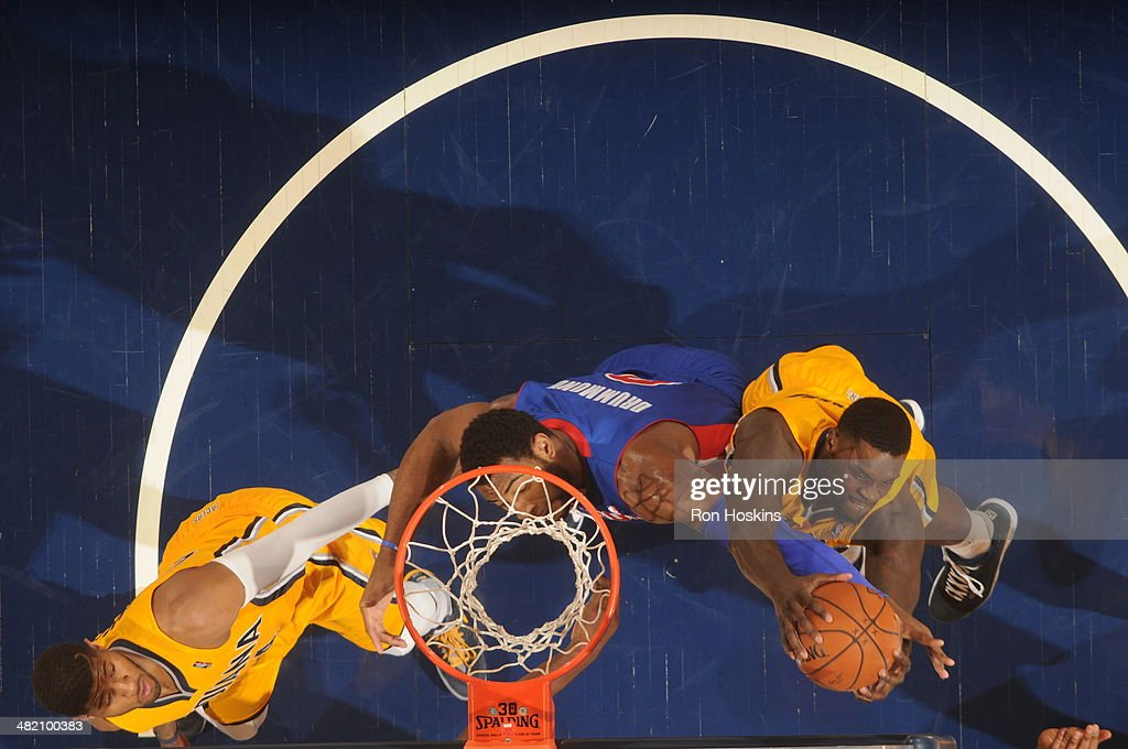 <a gi-track='captionPersonalityLinkClicked' href=/galleries/search?phrase=Lance+Stephenson&family=editorial&specificpeople=5298304 ng-click='$event.stopPropagation()'>Lance Stephenson</a> #1 of the Indiana Pacers grabs a rebound against the Detroit Pistons at Bankers Life Fieldhouse on April 2, 2014 in Indianapolis, Indiana.