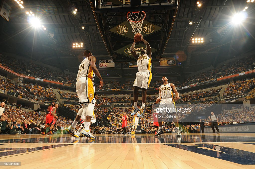 Lance Stephenson #1 of the Indiana Pacers grabs a rebound against the Atlanta Hawks in Game Five of the Eastern Conference Quarterfinals at Bankers Life Fieldhouse on April 28, 2014 in Indianapolis, Indiana.