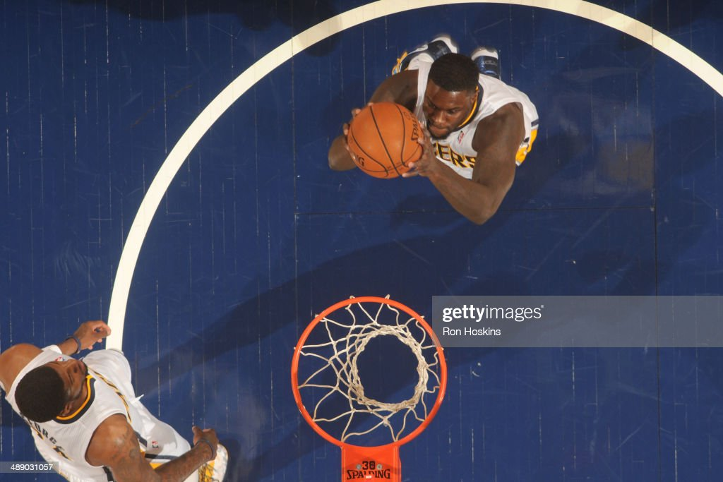 <a gi-track='captionPersonalityLinkClicked' href=/galleries/search?phrase=Lance+Stephenson&family=editorial&specificpeople=5298304 ng-click='$event.stopPropagation()'>Lance Stephenson</a> #1 of the Indiana Pacers grabs a rebound against the Atlanta Hawks in Game Five of the East Conference Quarter Finals of the 2014 NBA playoffs at Bankers Life Fieldhouse on April 28, 2014 in Indianapolis, Indiana.