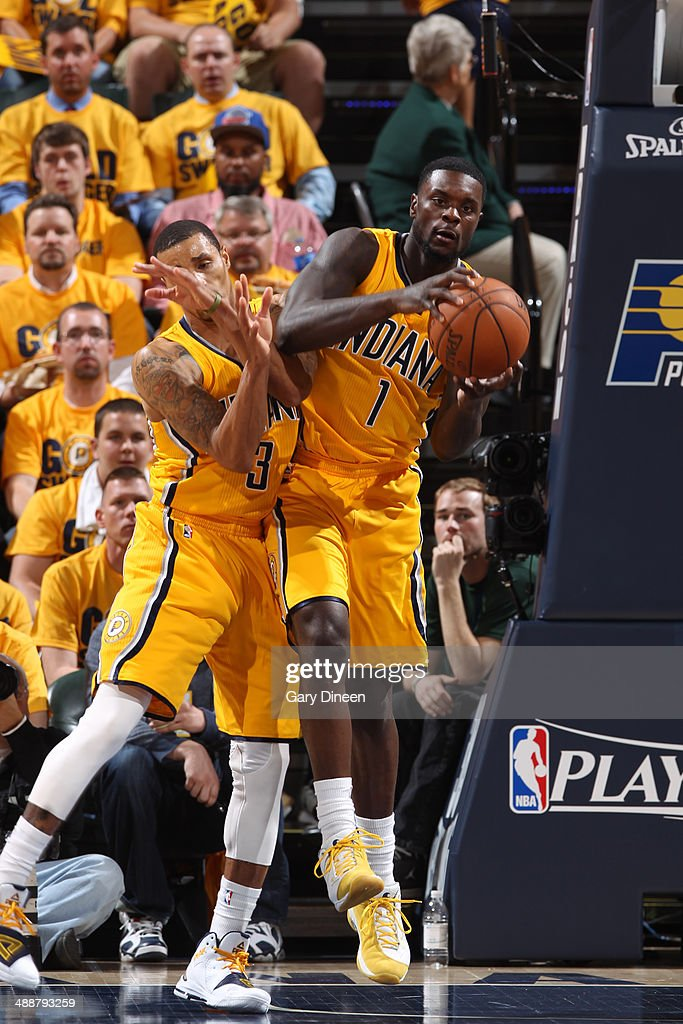 <a gi-track='captionPersonalityLinkClicked' href=/galleries/search?phrase=Lance+Stephenson&family=editorial&specificpeople=5298304 ng-click='$event.stopPropagation()'>Lance Stephenson</a> #1 of the Indiana Pacers grabs a rebound during Game One of the Eastern Conference Semifinals against the Washington Wizards on May 5, 2014 at Bankers Life Fieldhouse in Indianapolis, Indiana.
