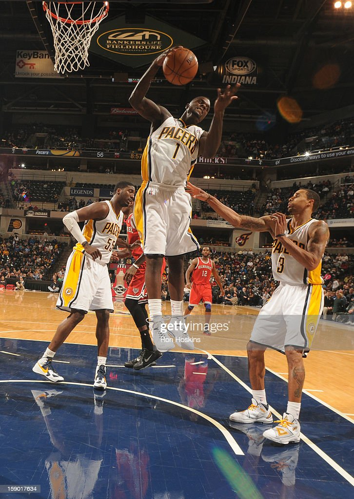 Lance Stephenson #1 of the Indiana Pacers grabs a rebound during the game between the Milwaukee Bucks and the Indiana Pacers on January 5, 2013 at Bankers Life Fieldhouse in Indianapolis, Indiana.