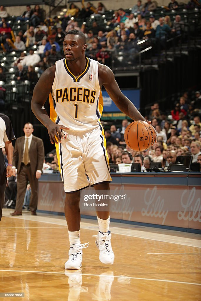<a gi-track='captionPersonalityLinkClicked' href=/galleries/search?phrase=Lance+Stephenson&family=editorial&specificpeople=5298304 ng-click='$event.stopPropagation()'>Lance Stephenson</a> #1 of the Indiana Pacers handles the ball against the Washington Wizards on January 2, 2013 at Bankers Life Fieldhouse in Indianapolis, Indiana.