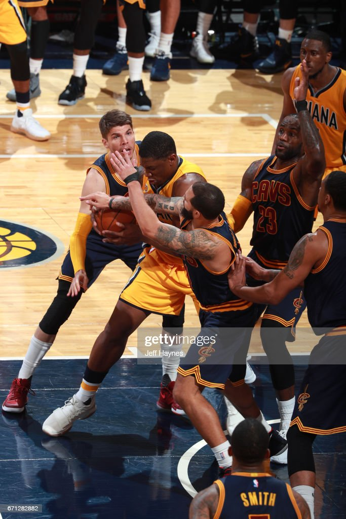 Lance Stephenson #6 of the Indiana Pacers handles the ball against the Cleveland Cavaliers during Game Three of the Eastern Conference Quarterfinals of the 2017 NBA Playoffs on April 20, 2017 at Bankers Life Fieldhouse in Indianapolis, IN.