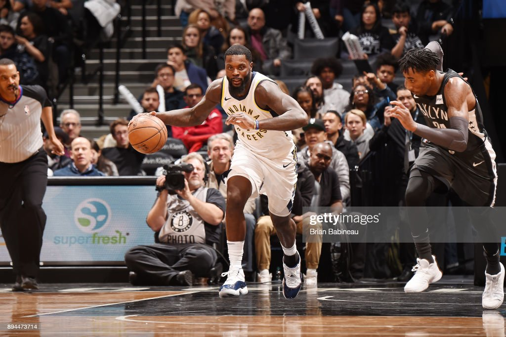 Lance Stephenson #1 of the Indiana Pacers handles the ball against the Brooklyn Nets on December 17, 2017 at Barclays Center in Brooklyn, New York.