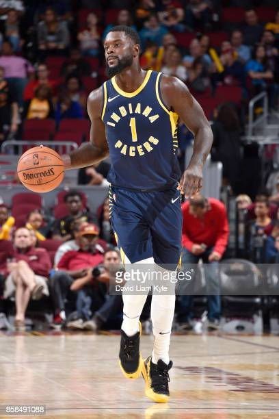 Lance Stephenson of the Indiana Pacers handles the ball during the preseason game against the Cleveland Cavaliers on October 6 2017 at Quicken Loans...