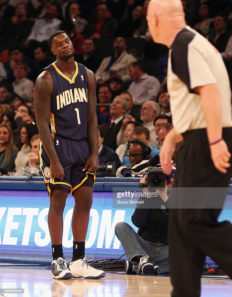 Lance Stephenson #1 of the Indiana Pacers is called for a technical foul in the third by referee Joe Crawford #17 in the game against the New York Knicks at Madison Square Garden on November 20, 2013 in New York City.