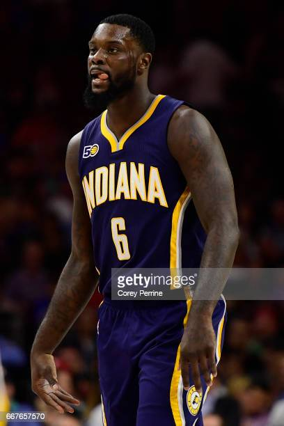Lance Stephenson of the Indiana Pacers looks on against the Philadelphia 76ers during the fourth quarter at the Wells Fargo Center on April 10 2017...