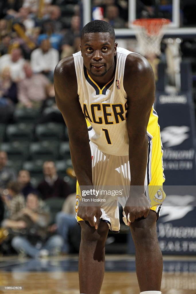 <a gi-track='captionPersonalityLinkClicked' href=/galleries/search?phrase=Lance+Stephenson&family=editorial&specificpeople=5298304 ng-click='$event.stopPropagation()'>Lance Stephenson</a> #1 of the Indiana Pacers looks on during the game against the Dallas Mavericks on November 16, 2012 at Bankers Life Fieldhouse in Indianapolis, Indiana.