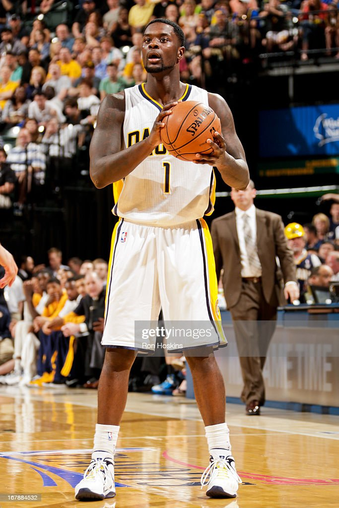 <a gi-track='captionPersonalityLinkClicked' href=/galleries/search?phrase=Lance+Stephenson&family=editorial&specificpeople=5298304 ng-click='$event.stopPropagation()'>Lance Stephenson</a> #1 of the Indiana Pacers looks to pass the ball against the Atlanta Hawks in Game Five of the Eastern Conference Quarterfinals during the 2013 NBA Playoffs on May 1, 2013 at Bankers Life Fieldhouse in Indianapolis, Indiana.