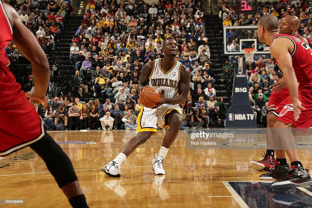 <a gi-track='captionPersonalityLinkClicked' href=/galleries/search?phrase=Lance+Stephenson&family=editorial&specificpeople=5298304 ng-click='$event.stopPropagation()'>Lance Stephenson</a> #1 of the Indiana Pacers looks to shoot the ball against the Miami Heat on February 1, 2013 at Bankers Life Fieldhouse in Indianapolis, Indiana.