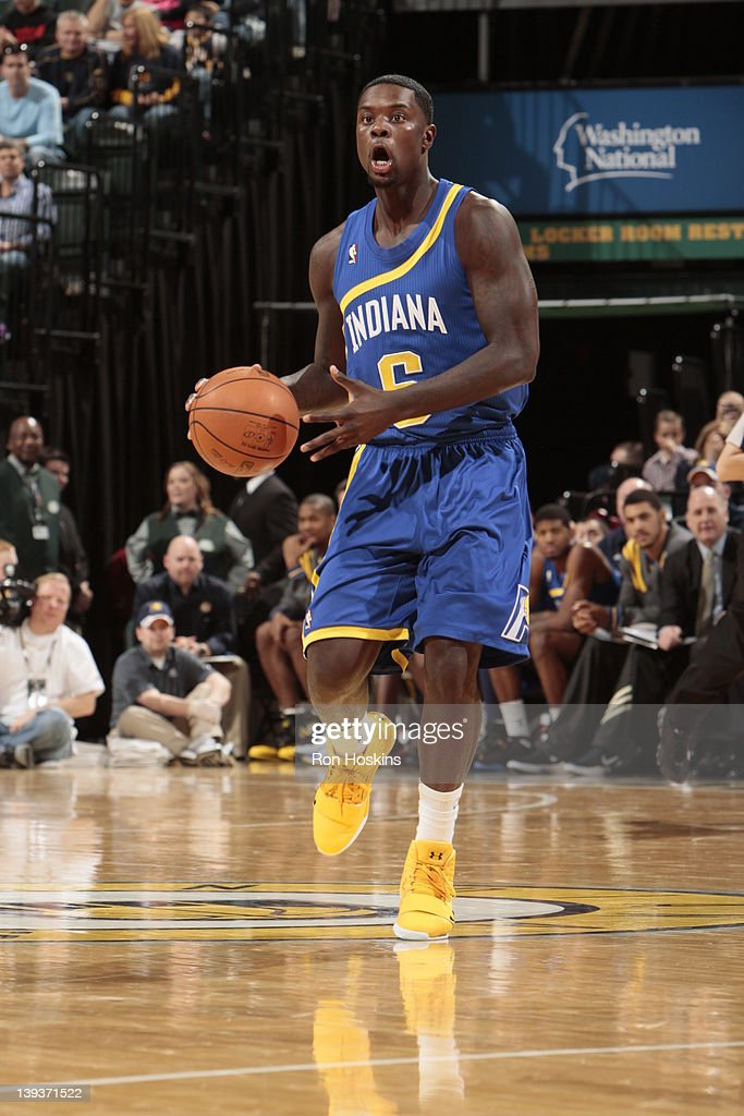 <a gi-track='captionPersonalityLinkClicked' href=/galleries/search?phrase=Lance+Stephenson&family=editorial&specificpeople=5298304 ng-click='$event.stopPropagation()'>Lance Stephenson</a> #6 of the Indiana Pacers moves the ball against the Charlotte Bobcats on February 19, 2012 at Bankers Life Fieldhouse in Indianapolis, Indiana.