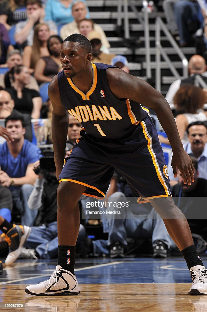 Lance Stephenson #1 of the Indiana Pacers plays tight defense against the Orlando Magic during the game on January 16, 2013 at Amway Center in Orlando, Florida.
