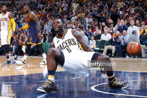 Lance Stephenson of the Indiana Pacers reacts after being called for an offensive foul against the Cleveland Cavaliers in the first half of Game Four...