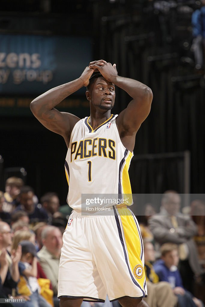 <a gi-track='captionPersonalityLinkClicked' href=/galleries/search?phrase=Lance+Stephenson&family=editorial&specificpeople=5298304 ng-click='$event.stopPropagation()'>Lance Stephenson</a> #1 of the Indiana Pacers reacts during the Game One of the Eastern Conference Quarterfinals between the Indiana Pacers and the Atlanta Hawks on April 21, 2013 at Bankers Life Fieldhouse in Indianapolis, Indiana.