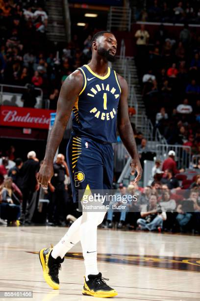 Lance Stephenson of the Indiana Pacers reacts during the preseason game against the Cleveland Cavaliers on October 6 2017 at Quicken Loans Arena in...