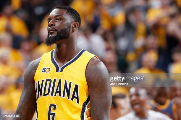 Lance Stephenson of the Indiana Pacers reacts in the fourth quarter of Game Five of the Eastern Conference First Round during the 2017 NHL Stanley...