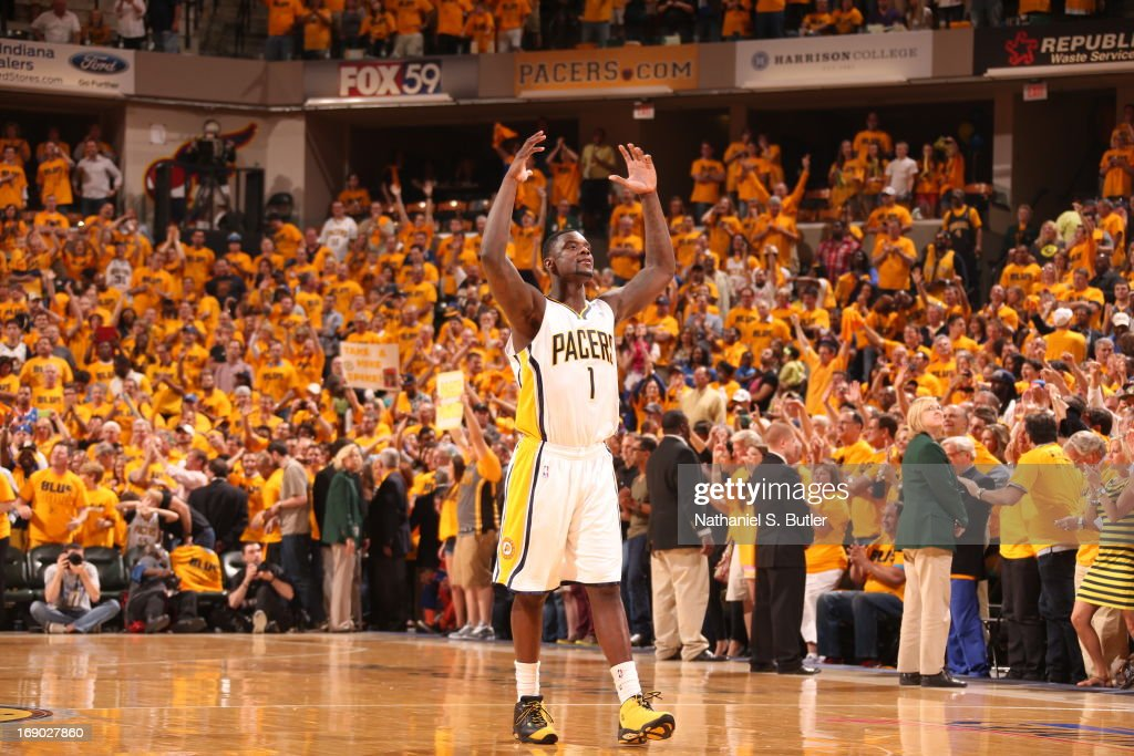 <a gi-track='captionPersonalityLinkClicked' href=/galleries/search?phrase=Lance+Stephenson&family=editorial&specificpeople=5298304 ng-click='$event.stopPropagation()'>Lance Stephenson</a> #1 of the Indiana Pacers reacts to a crowd support after a win against the New York Knicks in Game Six of the Eastern Conference Semifinals during the 2013 NBA Playoffs on May 18, 2013 at Bankers Life Fieldhouse in Indianapolis, Indiana.