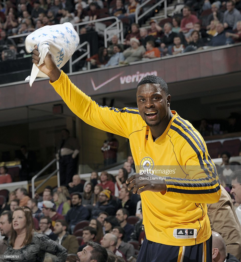 <a gi-track='captionPersonalityLinkClicked' href=/galleries/search?phrase=Lance+Stephenson&family=editorial&specificpeople=5298304 ng-click='$event.stopPropagation()'>Lance Stephenson</a> #1 of the Indiana Pacers reacts to a dunk by his teammate against the Cleveland Cavaliers at The Quicken Loans Arena on December 21, 2012 in Cleveland, Ohio.