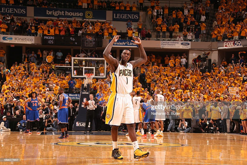 <a gi-track='captionPersonalityLinkClicked' href=/galleries/search?phrase=Lance+Stephenson&family=editorial&specificpeople=5298304 ng-click='$event.stopPropagation()'>Lance Stephenson</a> #1 of the Indiana Pacers reacts to crowd support after a win against the New York Knicks in Game Six of the Eastern Conference Semifinals during the 2013 NBA Playoffs on May 18, 2013 at Bankers Life Fieldhouse in Indianapolis, Indiana.