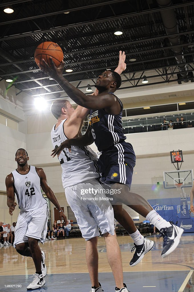 <a gi-track='captionPersonalityLinkClicked' href=/galleries/search?phrase=Lance+Stephenson&family=editorial&specificpeople=5298304 ng-click='$event.stopPropagation()'>Lance Stephenson</a> #6 of the Indiana Pacers shoots against the Brooklyn Nets during the 2012 Air Tran Airways Orlando Pro Summer League on July 13, 2012 at Amway Center in Orlando, Florida.