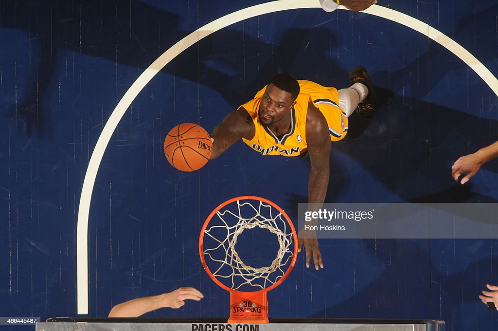 Lance Stephenson #1 of the Indiana Pacers shoots against the Brooklyn Nets at Bankers Life Fieldhouse on February 1, 2014 in Indianapolis, Indiana.