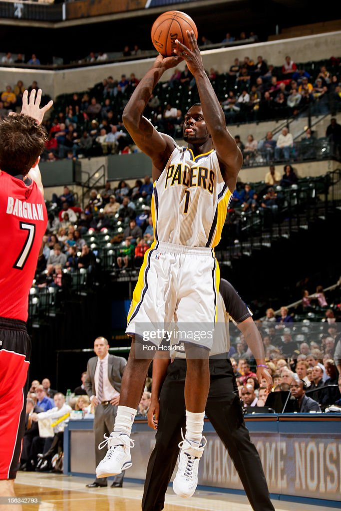 Lance Stephenson #1 of the Indiana Pacers shoots against the Toronto Raptors on November 13, 2012 at Bankers Life Fieldhouse in Indianapolis, Indiana.