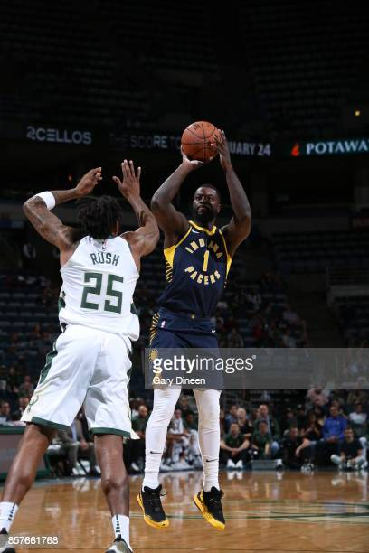 Lance Stephenson of the Indiana Pacers shoots the ball during a preseason game against the Milwaukee Bucks on October 4 2017 at the BMO Harris...