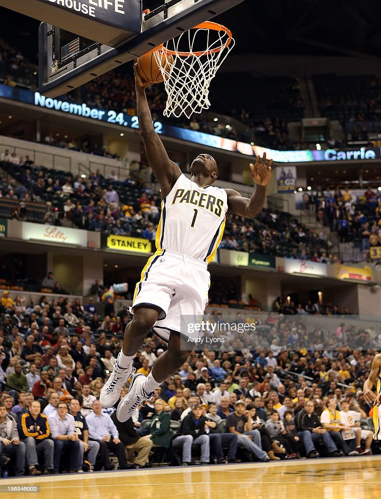 Lance Stephenson #1 of the Indiana Pacers shoots the ball during the NBA game against the Toronto Raptors at Bankers Life Fieldhouse on November 13, 2012 in Indianapolis, Indiana.