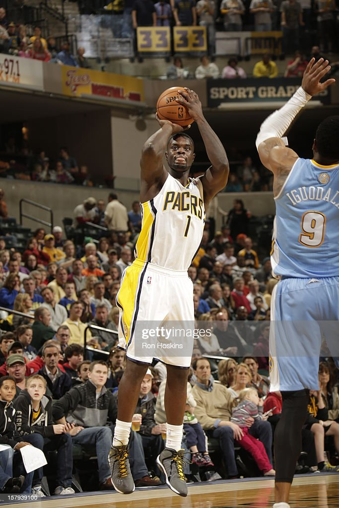 Lance Stephenson #1 of the Indiana Pacers takes a jumpshot against the Denver Nuggets on December 7, 2012 at Bankers Life Fieldhouse in Indianapolis, Indiana.