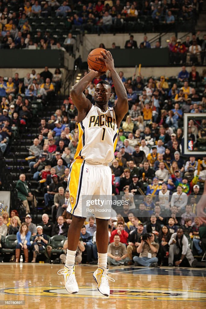 Lance Stephenson #1 of the Indiana Pacers takes a wide-open shot against the Golden State Warriors on February 26, 2013 at Bankers Life Fieldhouse in Indianapolis, Indiana.