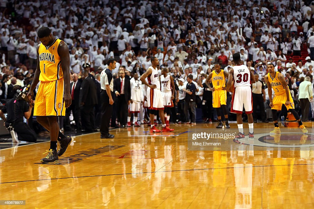 Lance Stephenson of the Indiana Pacers walks off the court after a play against the Miami Heat during Game Three of the Eastern Conference Finals of...